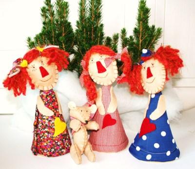 piccole bamboline dai capelli rossi