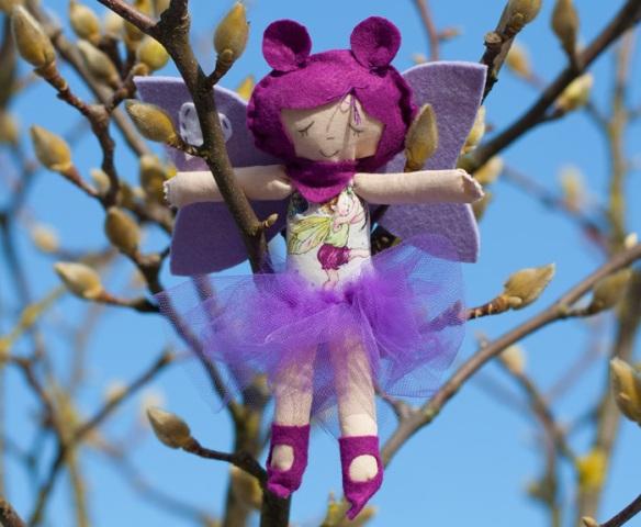 fatina primavera viola in stoffa e feltro